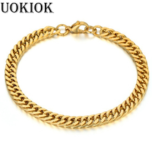 цена на Mens Miami Curb Cuban Link Bracelet 6.5mm Gold Color Stainless Steel Chain Link Bracelet For Men Hip Hop Jewelry 21cm Braslet