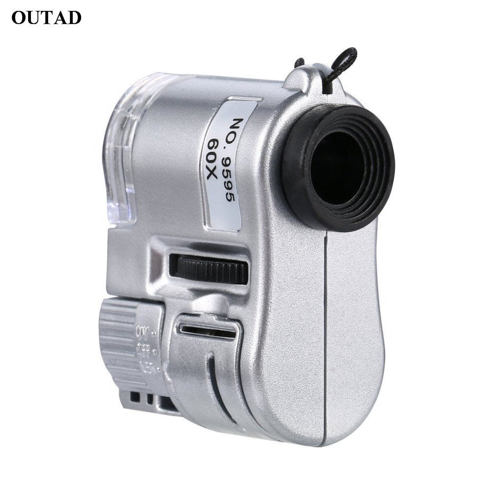 Mini Lens 60X MicroscMagnifier Microscope LED Ultraviolet Light Jewelry Education Focus Adjustable Loupe Glass Currency Detector