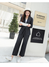 Spring And Autumn Suit Casual Wear Wide Legged Pants Two Pcs Set Office Lady Women Suits