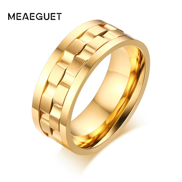 Men's Spinner Ring Rotatable Wedding Band Round Rings Classic Gold Color 9mm Gen