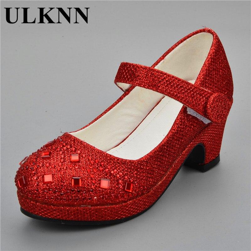 a6b259142 ULKNN 2019 sandalias para niños niñas rhinestone tacón alto boda zapatos de  fiesta de princesa bebé zapato rojo rosa de oro de plata 25 -30 chica