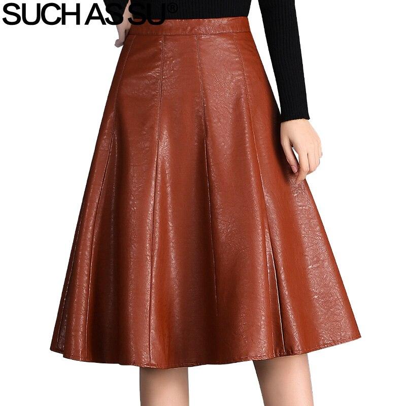 SUCH AS SU Autumn Winter Skirt Women 2017 Brown Black High Waist Mid Long PU Leather Skirts S-XXXL Size Female Pleated Skirt alex evenings pleated side skirt black lp