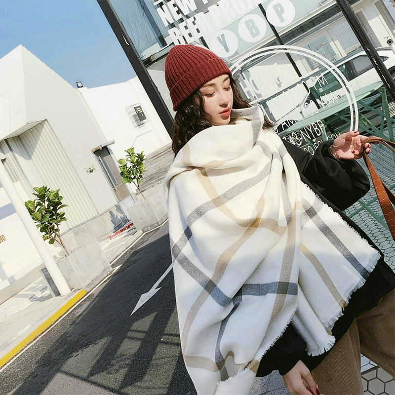 New Comfortable Wild Thick Soft Plaid Big Lady Sweet Scarf Warm Couple Temperament Long Fresh Simple Scarf Cute Knit Shawl