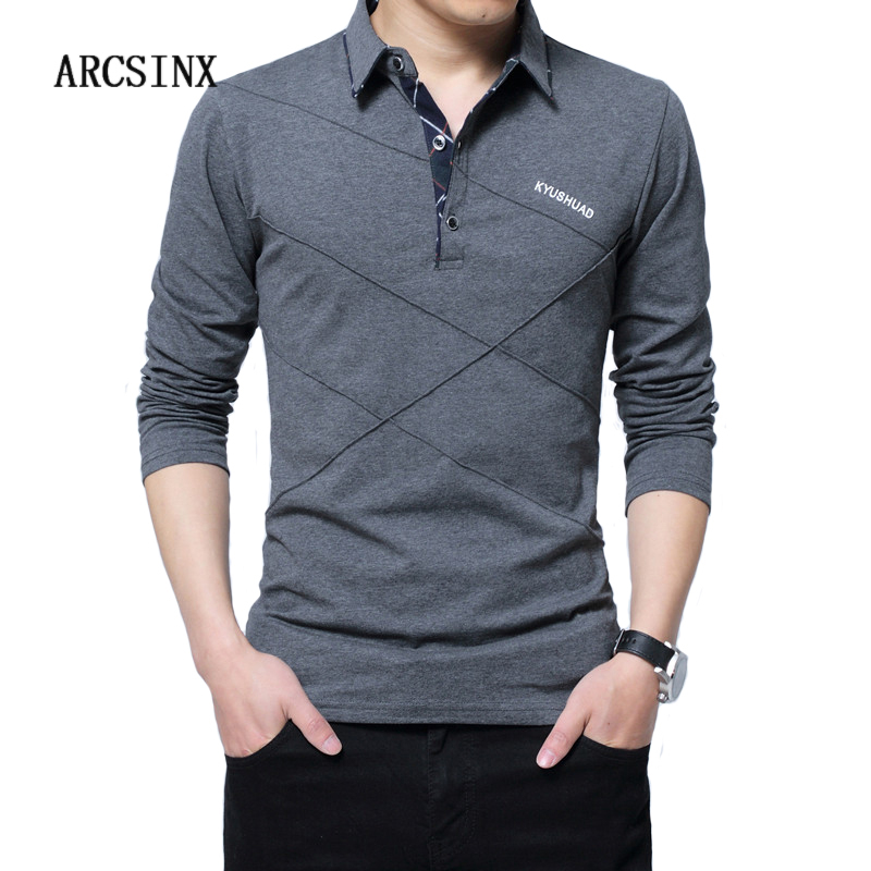 ARCSINX 5XL   Polo   Shirt Men Plus Size 3XL 4XL Autumn Winter Brand Men's   Polo   Shirt Long Sleeve Casual Male Shirt Mens   polo   Shirts