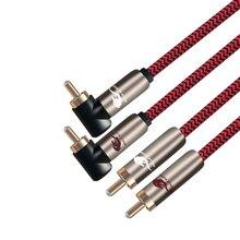 Audiophile Cabo de Áudio RCA para RCA 2 2 para Amplifier Speaker CD TV Direto para o Ângulo do Cabo de Sinal RCA Duplo OFC 1M 2M 3M 5M 8M 15M