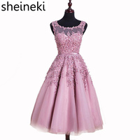 Pink Burgundy Short Evening Dress 2016 Applique Beaded Sheer Party Homecoming Summer Gown Dresses Robe De