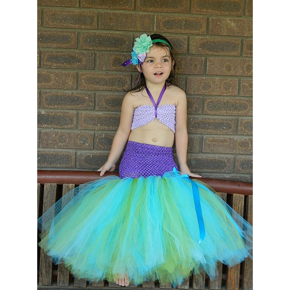 Mermaid Girl Tutu Dress Halloween Cosplay Costume Princess Tulle Dress with Headband Under Sea Photo Prop Party Birthday Dresses 4pcs gothic halloween artificial devil vampire teeth cosplay prop for fancy ball party show