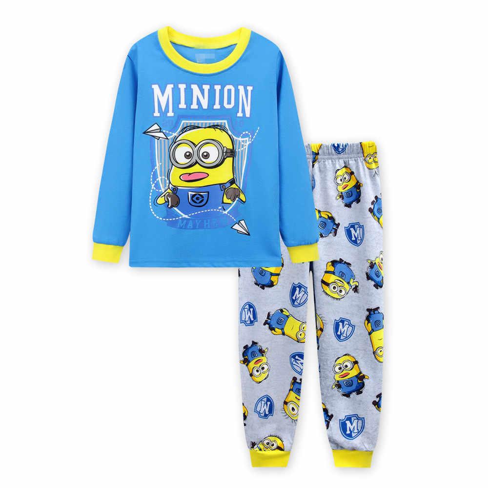 49712436f1a6 Счастливый длинным рукавом хлопок Желтый Миньон детская Костюмы весна пижамы  Наборы для ухода за кожей для