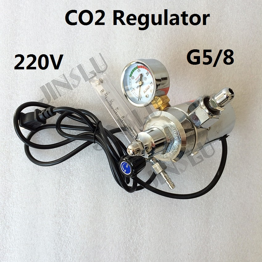 CO2 Gas Regulator Gauge with Heater 220V G5/8 Flow Meter Mig Welding Welder g5 8 14h f oxygen regulator welding accessories