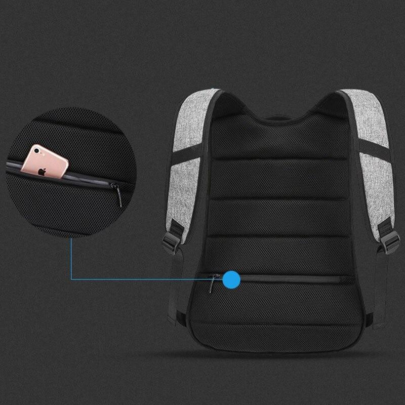 OZUKO toile sac à dos hommes USB Charge mot de passe serrure Anti-vol en trois dimensions sac à dos Style européen et américain sac de voyage - 6
