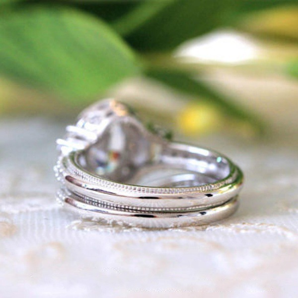 2019 new luxury oval 925 Sterling Silver wedding ring set for women lady anniversary gift drop shipping moonso R5077 in Rings from Jewelry Accessories
