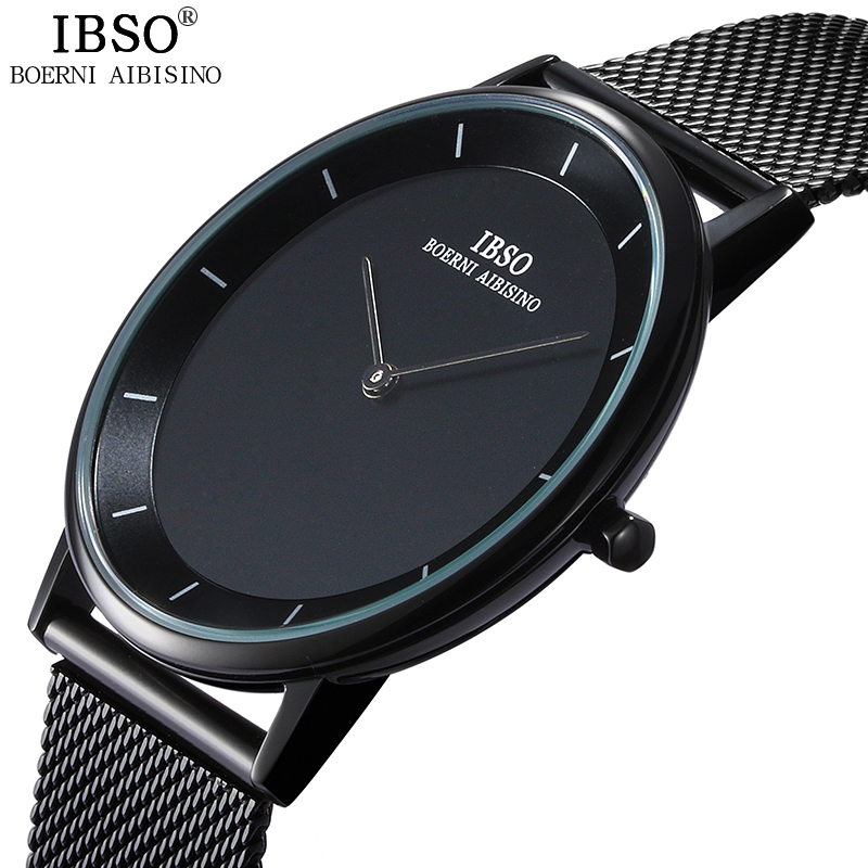 IBSO Brand 7MM Ultra-Tunna Quartz Watch Män Stål Mesh Rem Mens Watches Relojes Hombre 2019 Fashion Relogio Masculin Clock Men