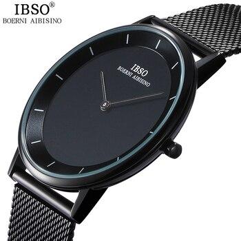 Ibso značky 7mm ultra-tenké křemenné hodinky muži ocelové pletivo popruh  pánské hodinky relojes hombre 2018 módní relogio  8e3952f2598