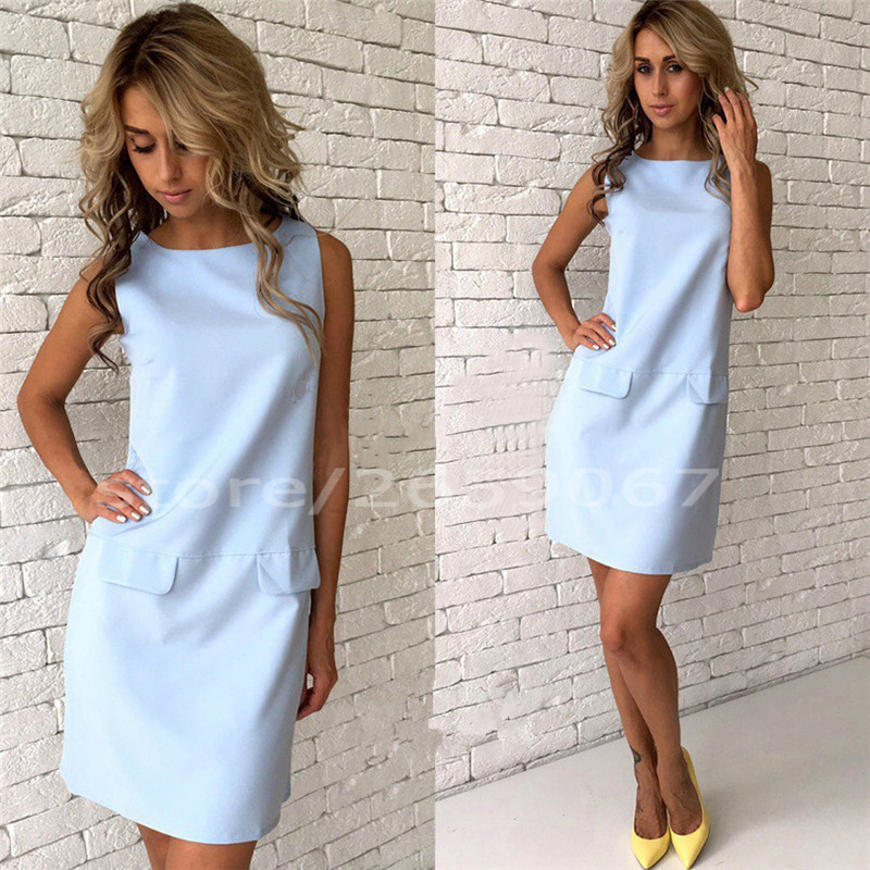 Fake Pocket Sleeveless Casual Tank Dress 2018 Summer Women Solid Colour O-Neck Straight Dress Elegant Mini Party Dresses
