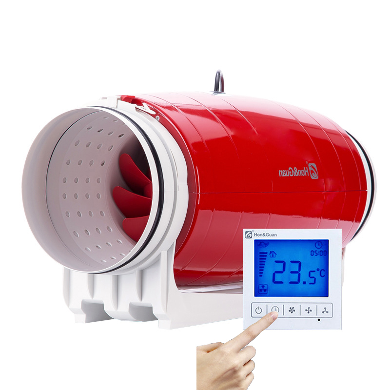 Exhaust Fan Ventilator Air Recuperator atVentilation Fan LCD Delay High Pressure Fan Silent 8inch Extractor De Aire HDD-200P