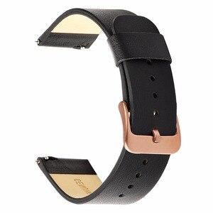 Image 4 - Genuino Cinturino In Pelle 20 millimetri per Samsung Galaxy Orologio 42 millimetri R810 A Sgancio Rapido Banda di Sostituzione Della Cinghia Da Polso Braccialetto Rosa oro