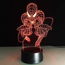 Top sale Spiderman Colorful gradient 3D night light Creative remote control or touch switch night light led table lamp