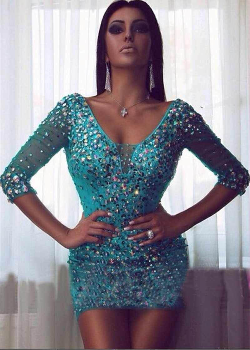 Sexy Rhinestones Cocktail Dresses with 3/4 Sleeve Sparkly V Neck ...