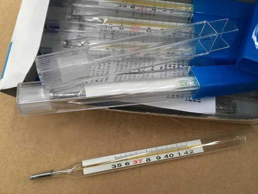 2 шт./упак. стеклянный медицинский термометр, медицинский ртутный большой экран для детей и взрослых, термометр для испытания температуры, бесплатная доставка