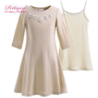 Pettigirl Girl Clothing Set Solid Skinny Knit Girls Dress With Soft Vest And Delicate Rhinestone Kids Children Clothing