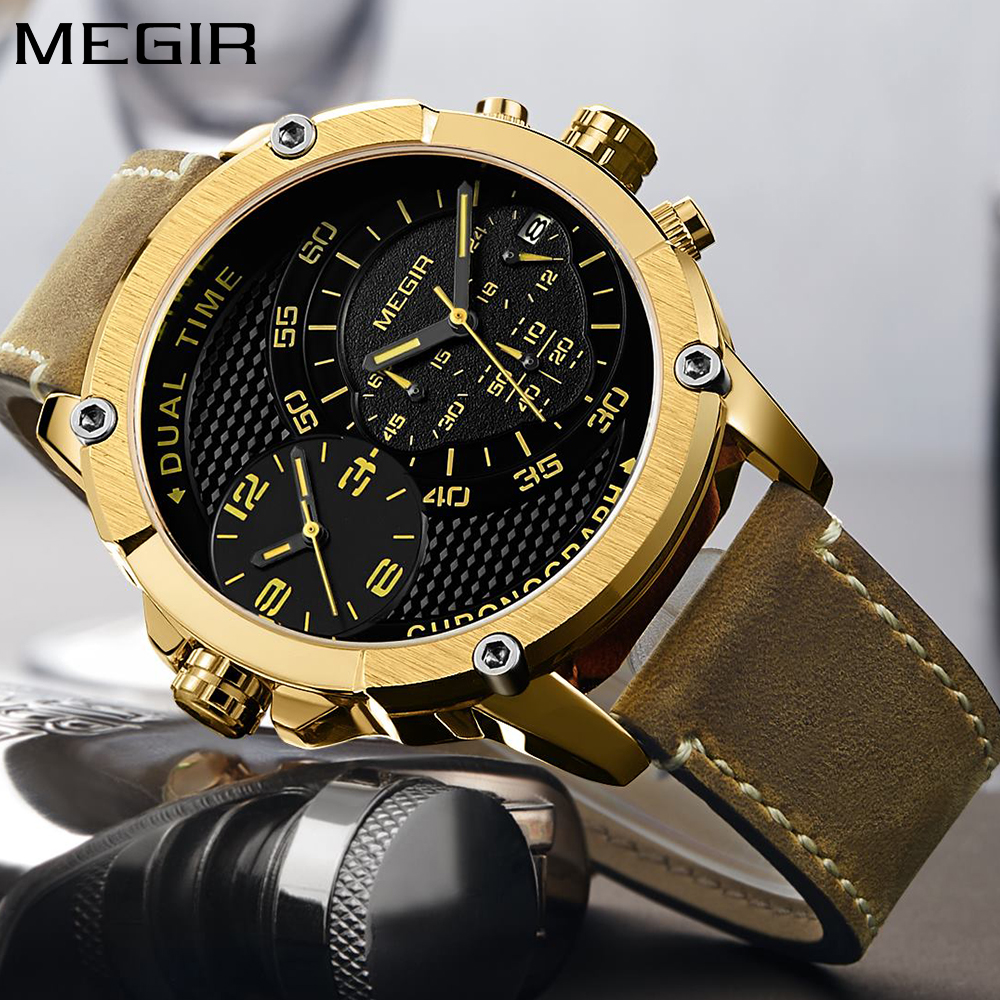 MEGIR Mens Watches Top Brand Luxury Gold Big Dial Function Military Sport Wrist Watch Men Quartz Waterproof Leather Clock 2018