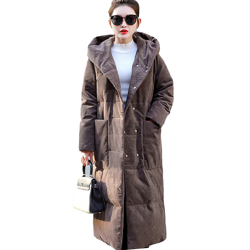 90% White Duck Down Jackets Plus Size Winter Thicken Loose Down Coats Hooded Warm Long Coats Parka Fashion Women Down Outwear