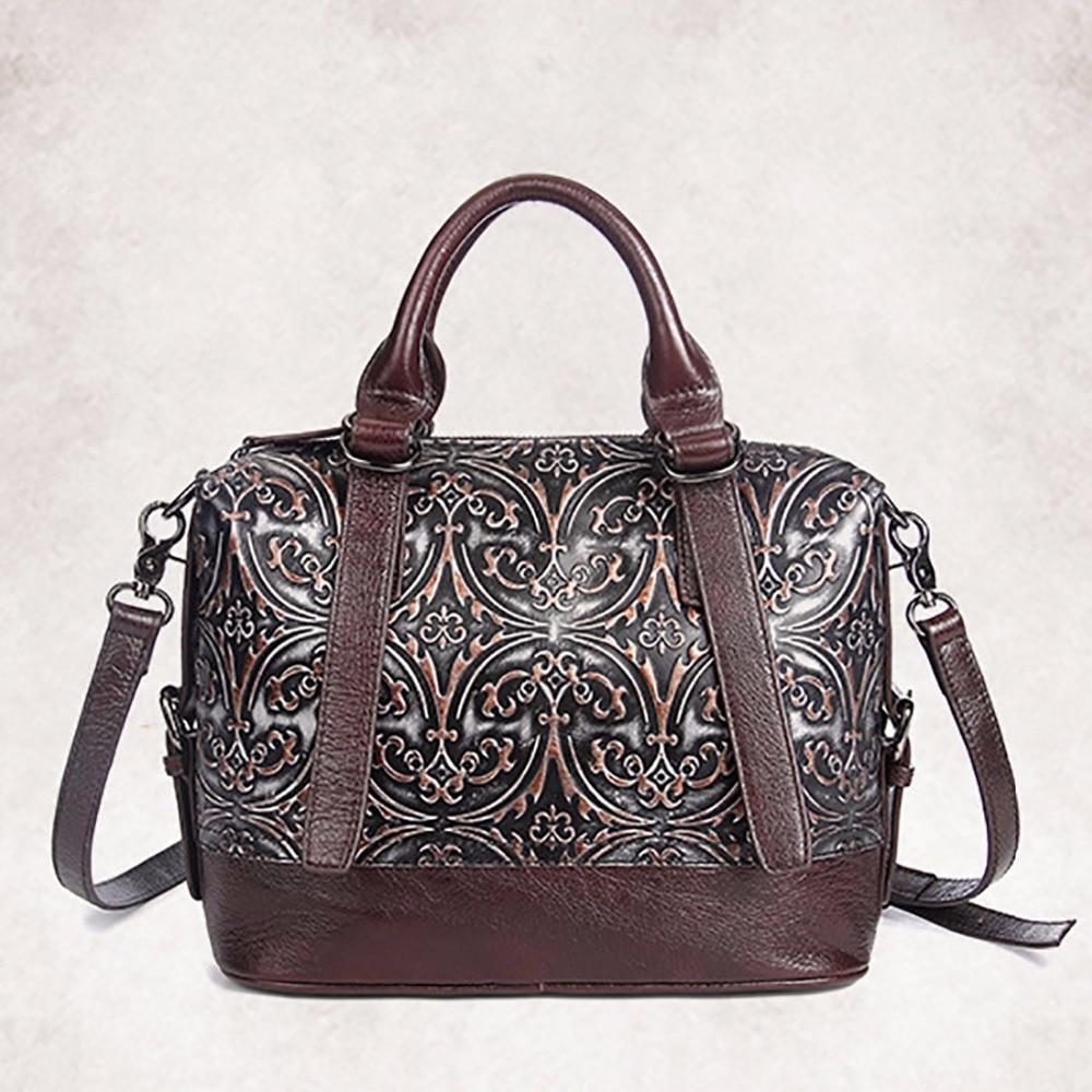 ФОТО Hot Sale Women Genuine Leather Tote Bag New Cow Leather Ladies Handbag Vintage Embossed Pattern Designer Shoulder Messenger Bags