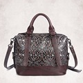 Hot Sale Women Genuine Leather Tote Bag New Cow Leather Ladies Handbag Vintage Embossed Pattern Designer Shoulder Messenger Bags