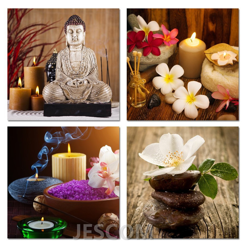 4 Piece Black Borders Zen Stone Buddha Bamboo Orchid Candle Painting for Study <font><b>Bed</b></font> Room Living Room Wall Decor Framed