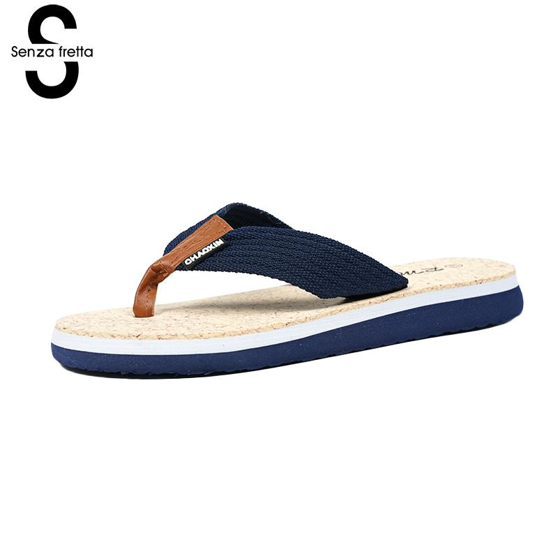 Senza Fretta Men Shoes Flip Flops Slippers Summer Beach Flip Flops Cork Shoes Slippers Eva Flats Sandals Casual Shoes Flip Flops фоторамка senza 20х25 см хром 956444