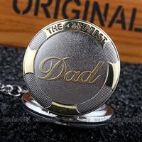 2015 Luxury Pewter Brass Embossed DAD Necklace Quartz Pocket Watch Men S Pappy Father Best Gift