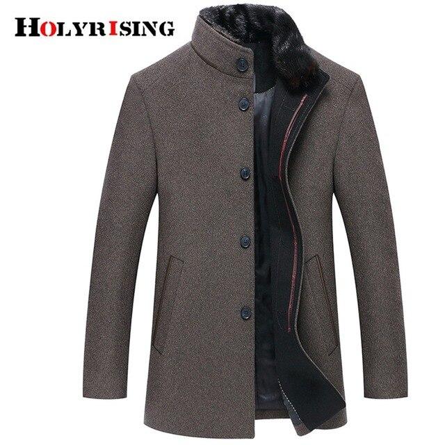 Holyrising Men Wool Coats Casaco Masculino Inverno Single Button Mens Overcoat Windproof Men Cloths Slim Coats For Men 18519-5