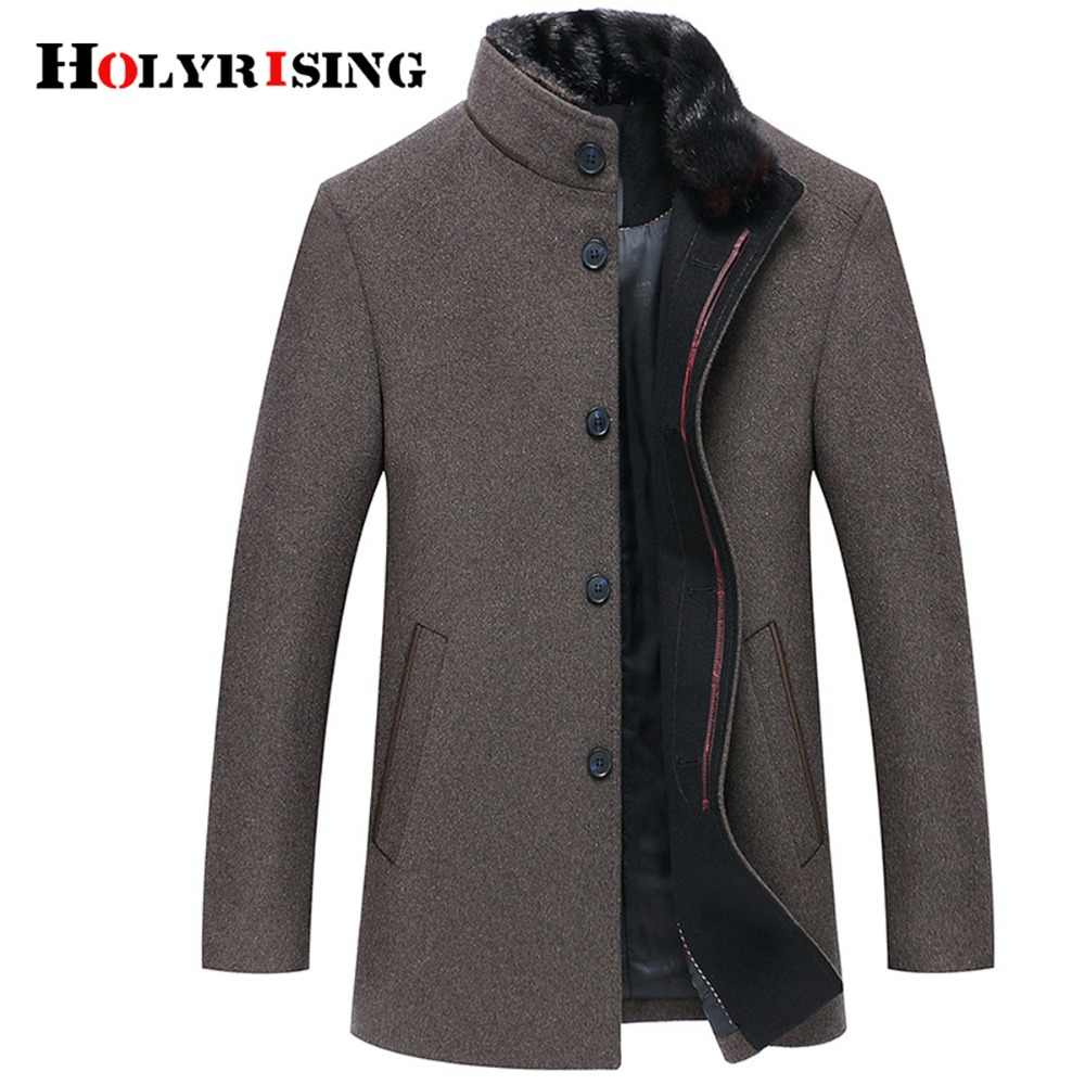 Holyrising Men Wool Coats Casaco Masculino Inverno Single Button Mens Overcoat Windproof Men Cloths Slim Coats For Men 18519-5