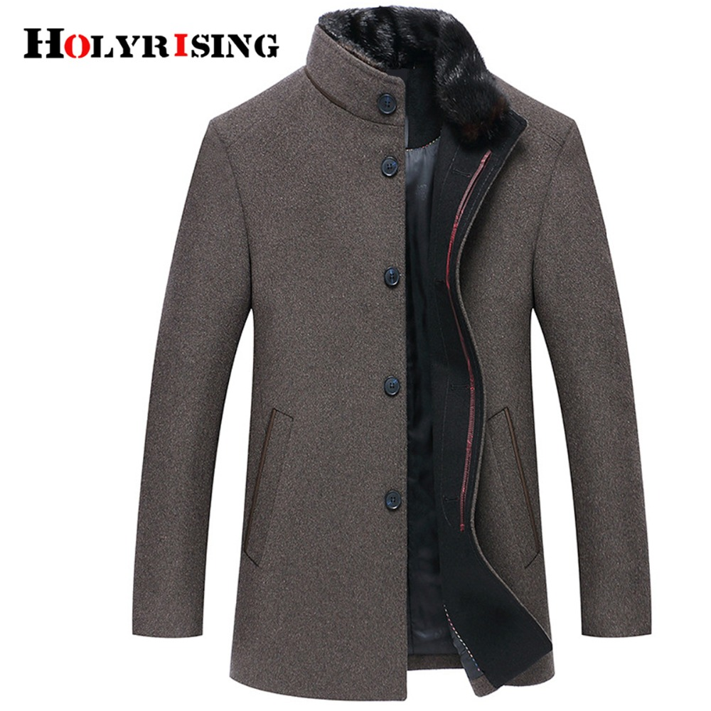 Holyrising Men Wool Coats Casaco Masculino Inverno Single Button Mens Overcoat Windproof Men Cloths Slim Coats For Men 18519 5-in Wool & Blends from Men's Clothing    1