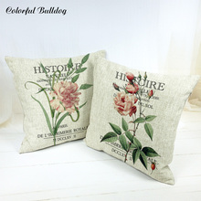Fashion Tropical Cactus Lavender Cushion Covers Green Leaves Pink Rose Orchid Lounge Square Linen Decor Home Garden Cover Pillow