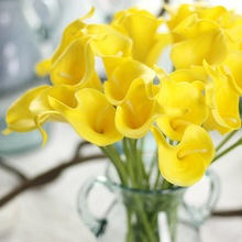 10pcs Lot 33cm Real Touch PU Calla Lily Artificial Flower DIY Home Wedding Party Table Decoration Bride Bouquet pu real touch artificial calla flower bonsai