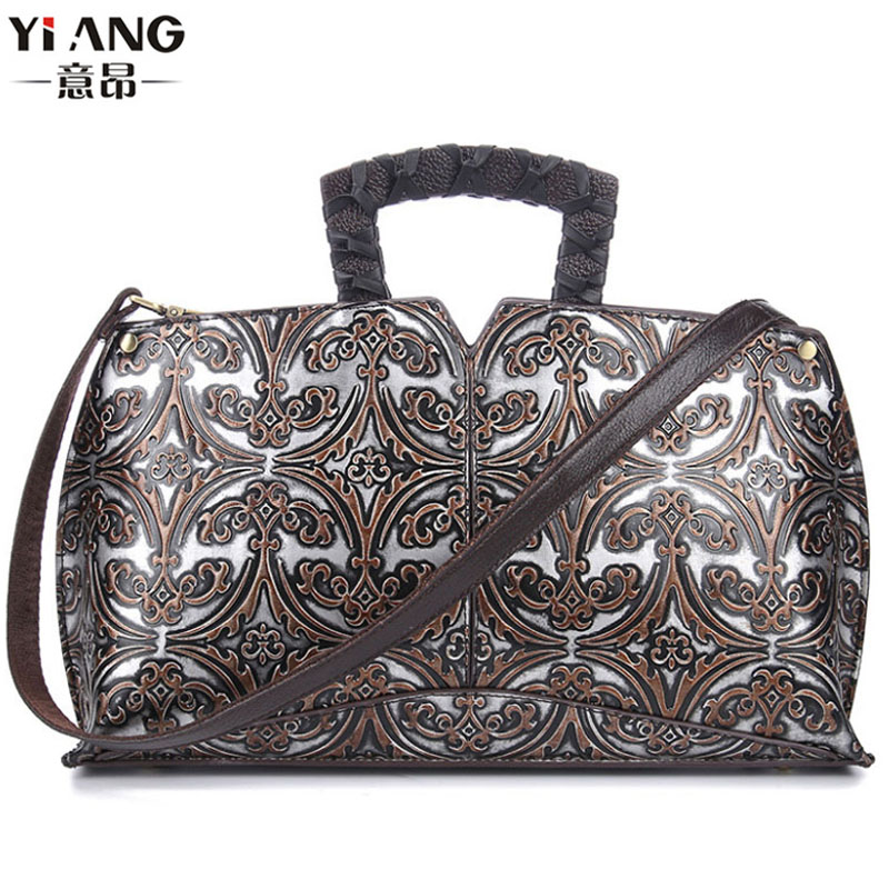 New Women Vintage Embossed Handbag Genuine Leather First Layer Cowhide Famous Brand Casual Messenger Shoulder Bags Handbags women genuine leather handbags ladies personality new head layer cowhide shoulder messenger bags hand rub color female handbags