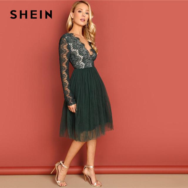 deaa972f8b SHEIN Green Deep V-Neck Lace Dress Long Sleeve High Waist ...