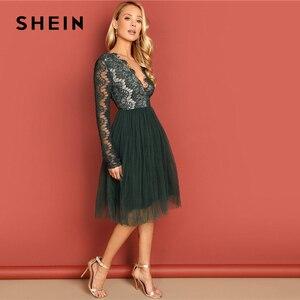 Image 2 - Shein 녹색 깊은 v 목 레이스 드레스 긴 소매 높은 허리 투명 가을 섹시한 파티 밤 우아한 여성 드레스