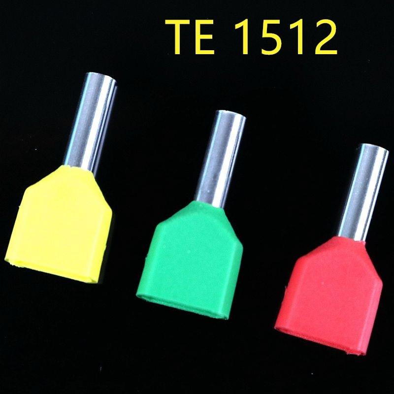 100PCS E 튜브 TE1512 2X1.5 mm2 유형 이중 파이프 절연 트윈 코드 냉간 압착 단자 블록 커넥터 바늘 끝 여러 가지 빛깔의