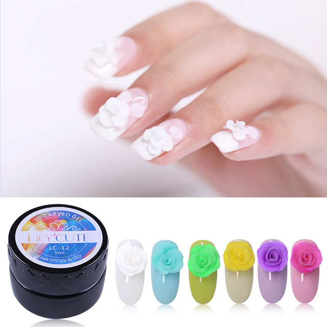 LILYCUTE 5ml 3D Carved Gel Polish Soak Off UV Gel