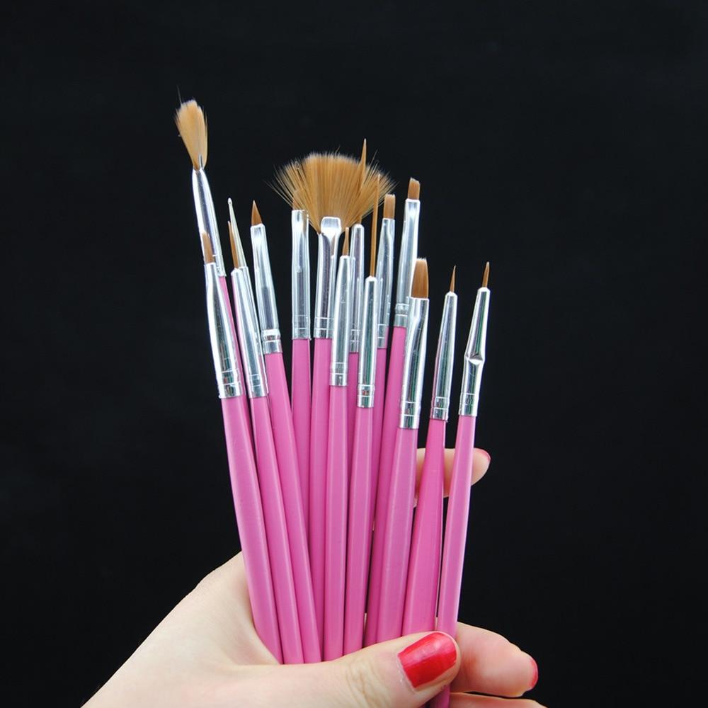 15pcs/Set Nail Art Brush Pink Nail Brushes Manicure Tools