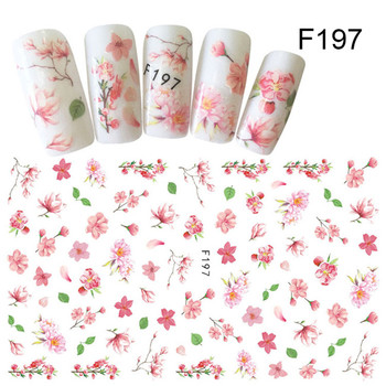 Flower Series Nail Water Decal Stickers Sakura Daisy Lavender Floral Pattern Transfer Sticker  Nail Art Decoration 49