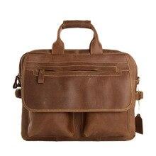 ROCKCOW 2015 Fashion Designer Handbags High Quality Leather Handbags Brown Leather Briefcase Portfolio Men 15″ laptop 8951