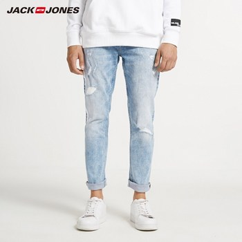 JackJones Men's Skinny Tight-leg Ripped Crop Jeans Men's Denim Pants 218332607 1