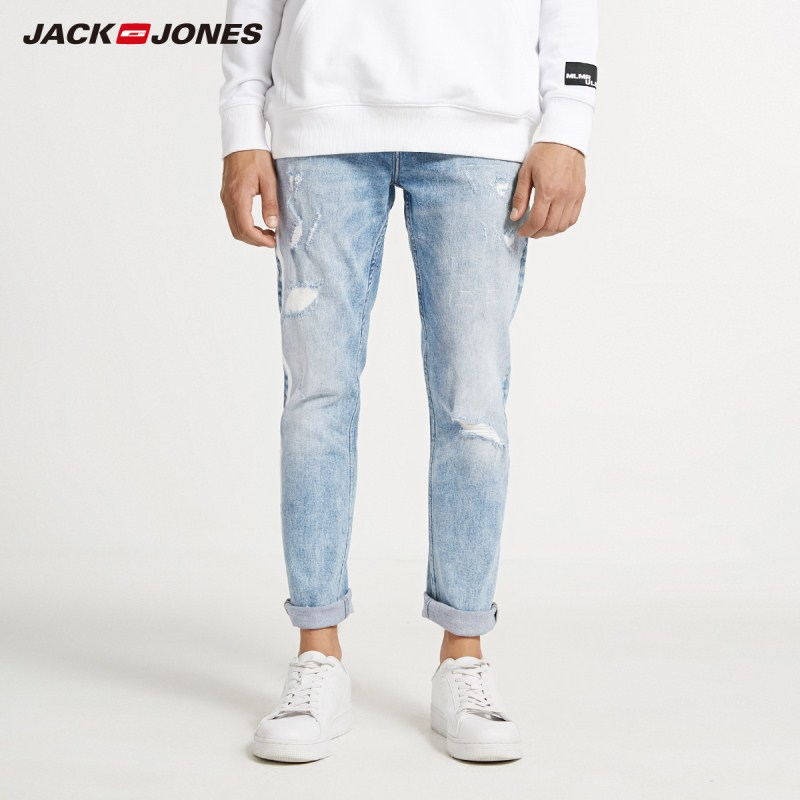 JackJones Men's Skinny Tight-leg Ripped Crop Jeans Streetwear Men's Denim Pants 218332607