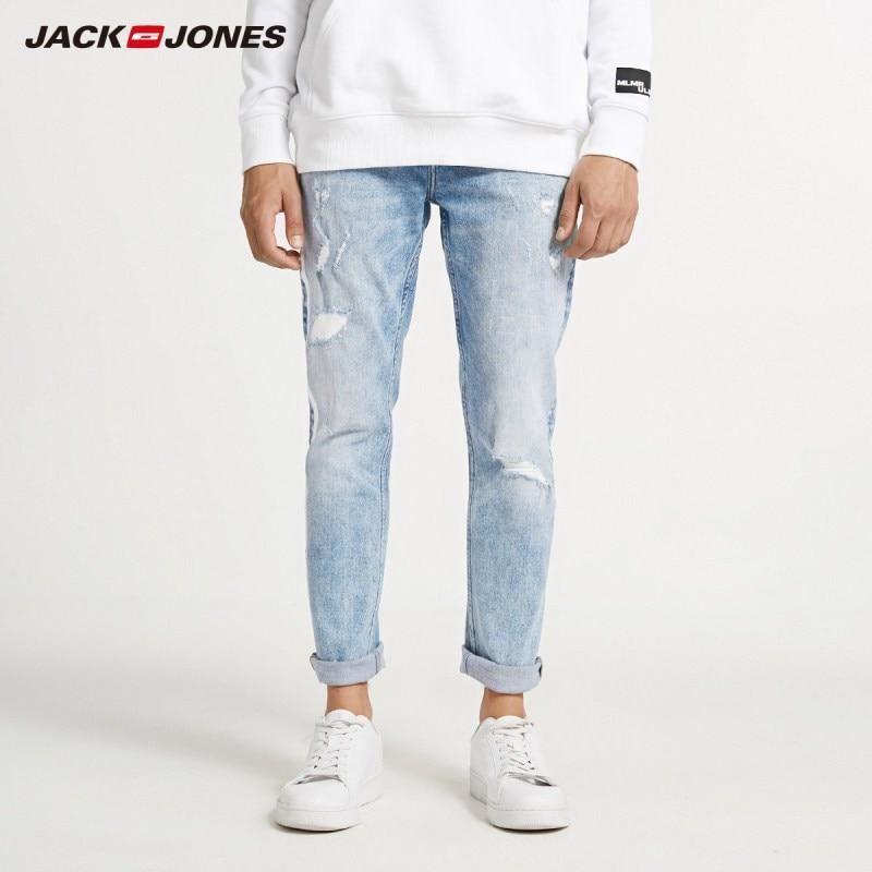 JackJones Men's Skinny Tight-leg Ripped Crop Jeans Streetwear Men's Denim Pants 218332607