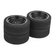 4pcs/lot Rc Car Tires 3mm Offset Sponge Tyres Wheel Rim Fit HSP HPI 1/10 Scale On-Road Racing Toys Unique Foam 23001
