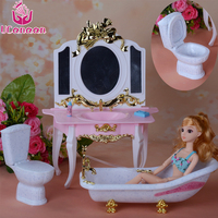 UCanaan Doll Bathtub Three Item Set Exquisite Toys Furniture Accessories Miniature Play House For Children Safety