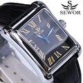 Praça mens relógios sewor marca top de luxo relógio mecânico automático com pulseira de couro calendário relógio masculino relógios de pulso do vintage
